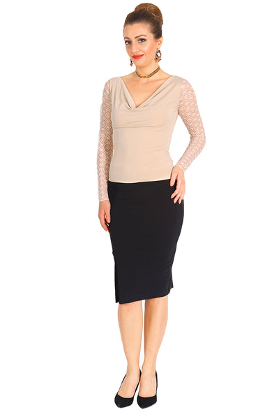 Beige Tango Top With Lace Back And Long Sleeves