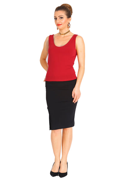 Red Tango Top With Back Draping and Strap