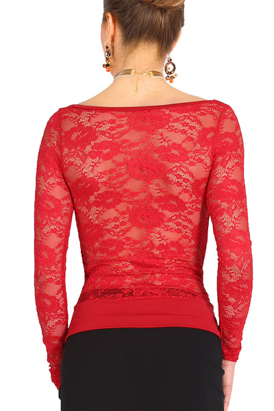 Red Tango Top With Lace Back And Long Sleeves