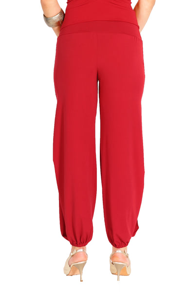 Red Gathered Tango Pants With Slits
