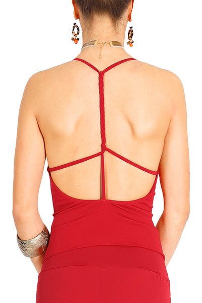 Red Tango Top with Strappy Open Back
