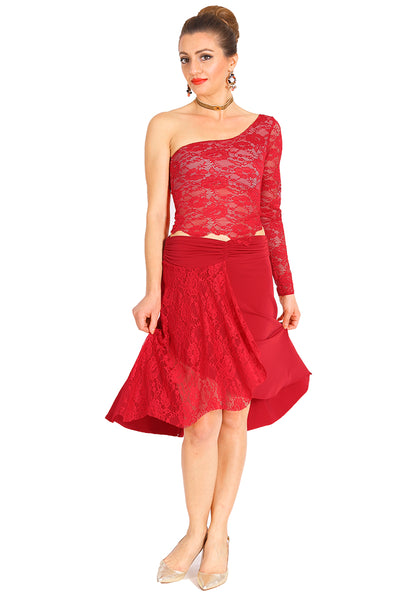 One-shoulder Lace Milonga Top