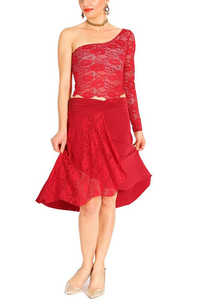 Red Tango Skirt with Lace Panel