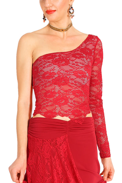One-shoulder Red Lace Tango Top