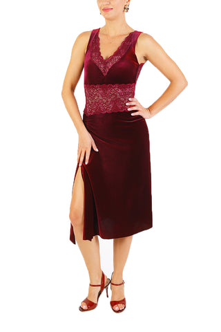 Burgundy Velvet Tango Dress with Lace