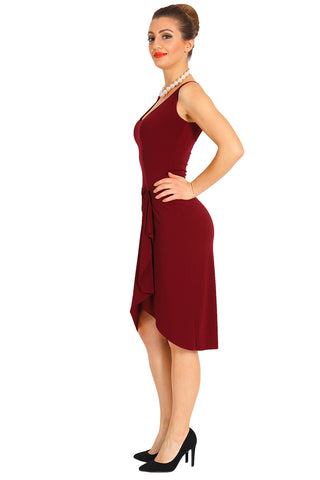 Burgundy Casual Wrap Dress
