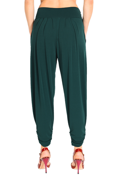 Harem Style Tango Pants with Pleated Front - Forest green