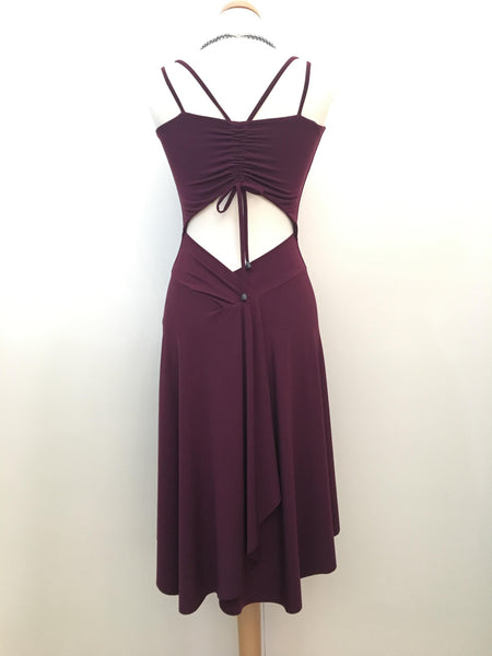 Tango Dress With Back Draping - Eggplant