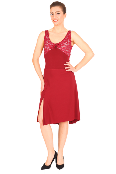 Red Crisscross Tango Dress with Lace & Back Draping