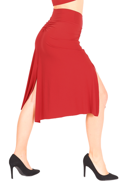Red Gathered Tango Skirt with Slits