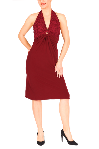 Halter neck tango dress with lace and front gatherings - burgundy