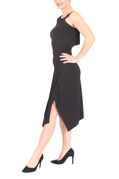 Black One-shoulder Asymmetric Tango Dress