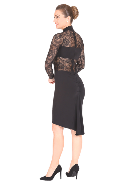 Black Tango Dress With Lace Details And Ruched Fishtail Skirt