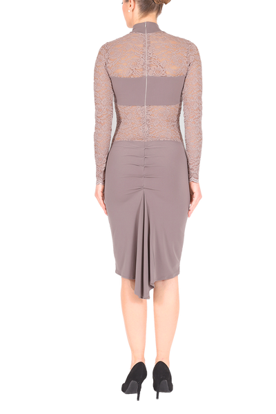 Elephant Gray Tango Dress With Lace Details And Ruched Fishtail Skirt