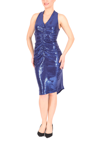 All Ruched Sequined Tango Dress - Electric blue