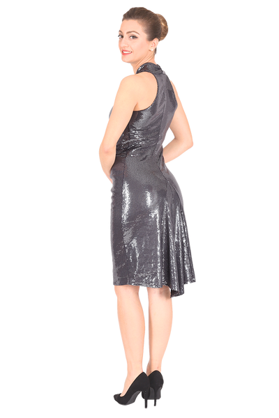 All Ruched Sequined Tango Dress - Gray