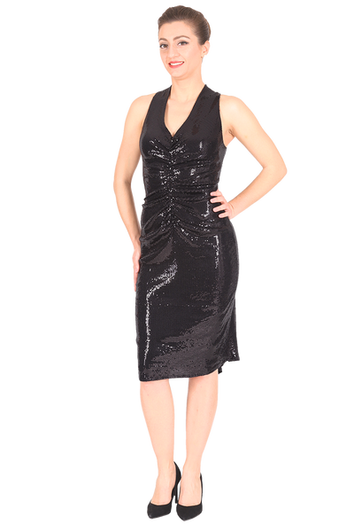 All Ruched Sequined Tango Dress - Black