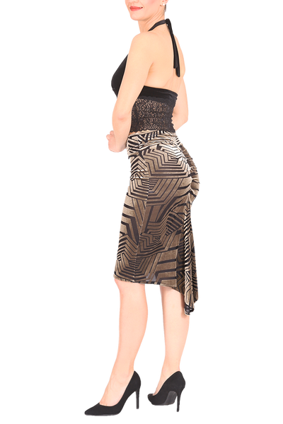 Golden Champagne Velvet Devoré Fishtail Tango Skirt