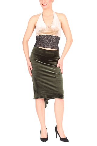 Olive Green Velvet Fishtail Tango Skirt