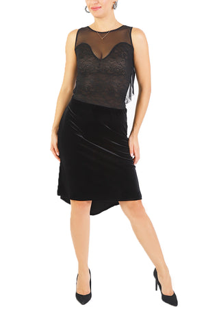 Black Tango Dress With Tulle Details And Ruched Velvet Fishtail Skirt