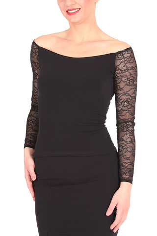 Black Tango Top With Lace Long Sleeves
