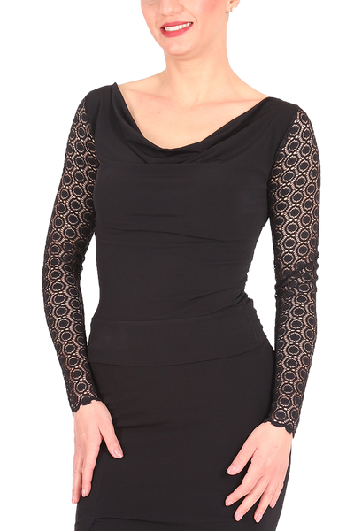 Black Tango Top With Lace Back And Long Sleeves