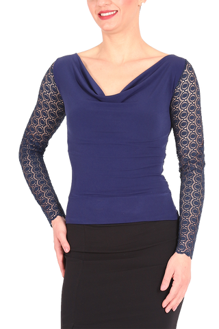 Dark Blue Tango Top With Lace Back And Long Sleeves