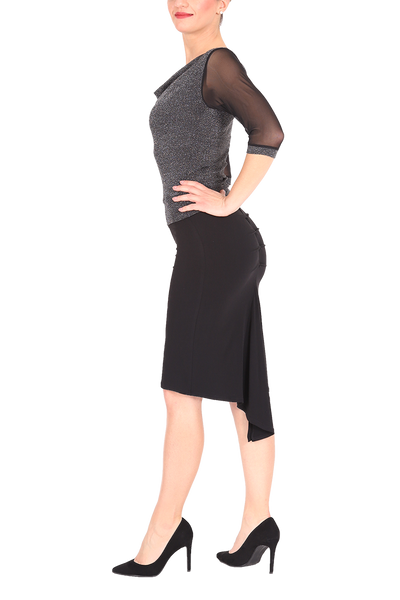 Black Fishtail Tango Skirt With Back Slit