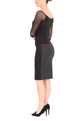 Black Pencil Skirt With Striped Back