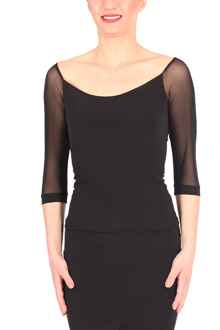 Black Tango Top With ¾ Tulle Sleeves