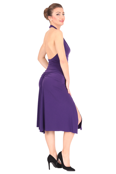 Purple Gathered Tango Skirt with Slits