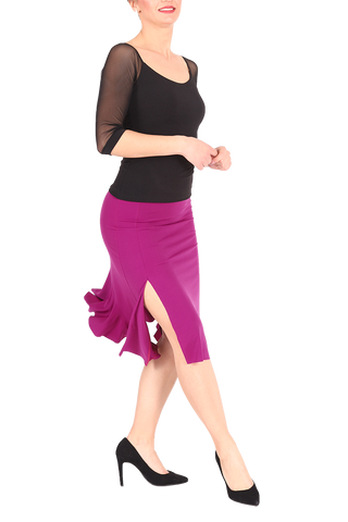 Dark Fuchsia Tango Skirt with Back Ruffles