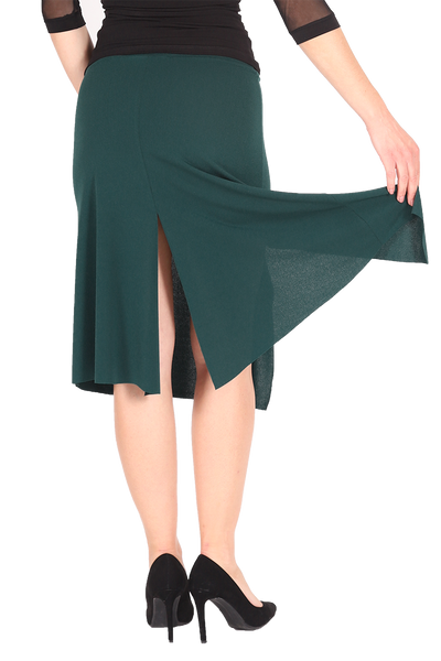 Forest Green Tango Dance Skirt With Slits
