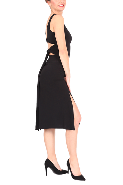 Sexy Tango Dress With Back Straps - black
