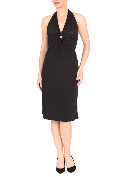 Halter neck tango dress with lace and front gatherings - black