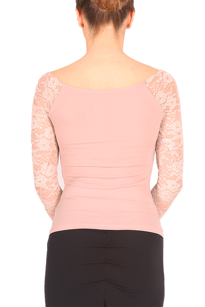 Nude Pink Tango Top With Lace Long Sleeves