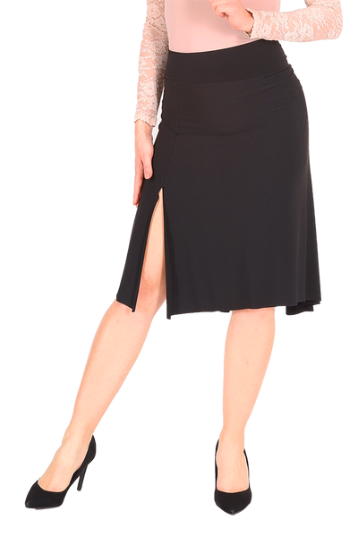 Tango dance skirt with rich back draping - black