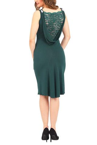 Elegant Tango Dress with Draped Lace Back - Forest green