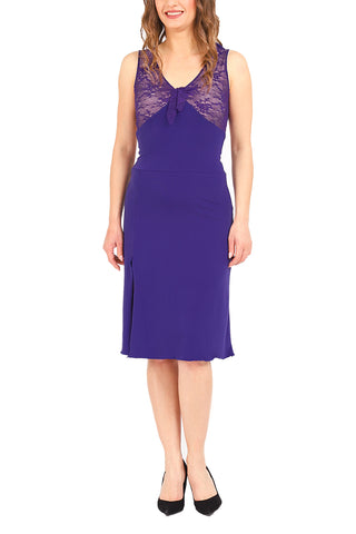 Tango Dress with Ruffles and Open Back - Purple