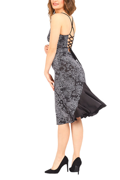 Black lace-up milonga dress with rich satin ruffles