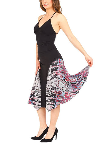 Black Tango Dance Skirt With Abstract Print