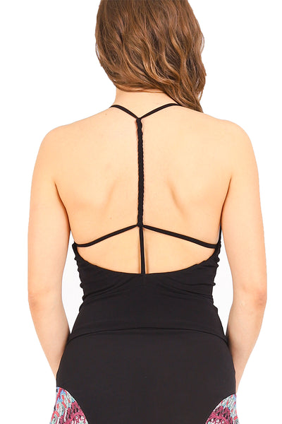 conDiva Black Tango Top with Strappy Open Back