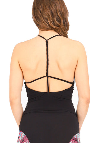 ca254b3abd conDiva Black Tango Top with Strappy Open Back