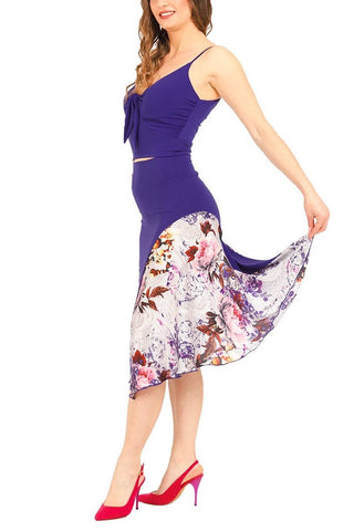 Purple Tango Dance Skirt With Satin Details