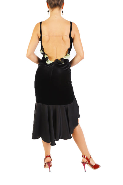 Black Velvet Dress with Open Back