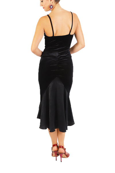 Black Velvet Fishtail Tango Dress