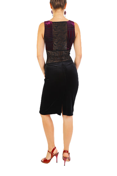 Velvet Bodycon Dress With Lace