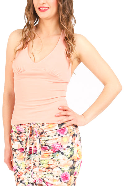 Salmon Pink Tango Top with Halter-neck Tie