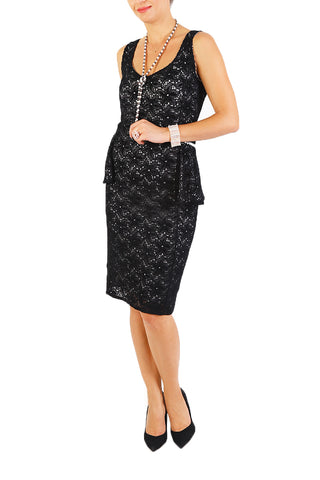 30s Style Black Lace Dress With White Lining