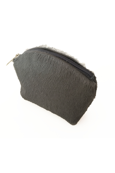 Gray Pony Fur Coin Purse